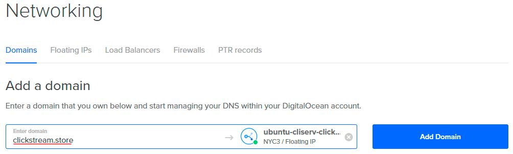 Escribimos nuestro dominio en Digital Ocean