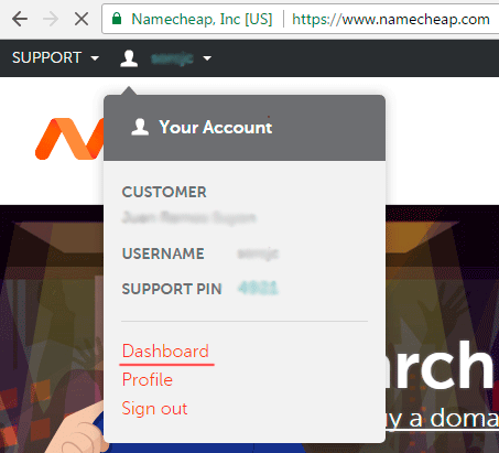 Acceder a Dashboard en Namecheap